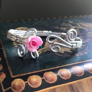 Silver Rose Cuff